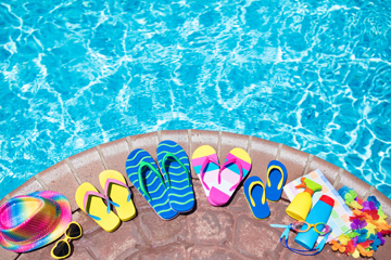 pool with slippers