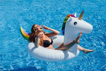 girl enjoying the pool